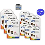 9 Pack Of Polaroid PIF-300 Instant Film for 300 Series Cameras + DBROTH Fiber Cloth