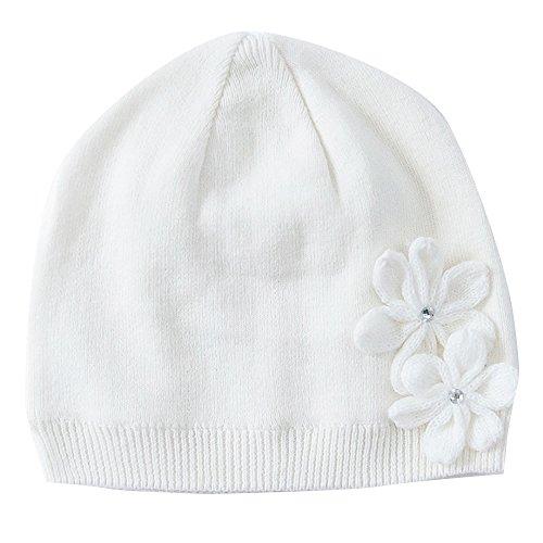 Vivobiniya® Toddler Girl's Winter Knitted cap Flower Hat Pink and white 0-6T (0-6M, white)