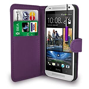 HTC ONE MINI DARK PURPLE LEATHER WALLET FLIP CASE COVER POUCH + FREE SCREEN PROTECTOR & RETRACTABLE TOUCH STYLUS PEN