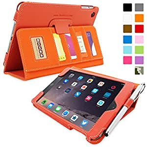iPad Mini & iPad Mini 2 Case, Snugg™ - Executive Smart Cover With Card Slots & Lifetime Guarantee (Orange Leather) for Apple iPad Mini & iPad Mini 2