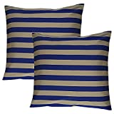 Home Kouture Polyester Set Of 2 Stripetease Cushion Cover; Gold And Dark Blue, 40.64 X 40.64 CM