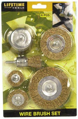 Lifetime Tools 40973 - Assortimento di 6 spazzole circolari per trapano