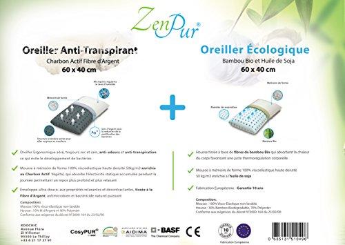 Promotion 1 zenpur lot de 2 oreillers premium cervicales anti transpira - Oreiller anti transpirant ...