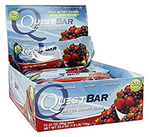 Quest Nutrition Natural Protein Bar, Mixed Berry Bliss, 12 Count