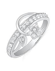 Mahi Rhodium Plated Elegant Floret Finger Ring With CZ For Women FR1100497R