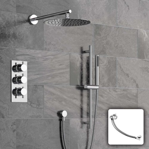 Concealed Bathroom Thermostatic Mixer Shower Set with Handheld & Riser Rail SS3049