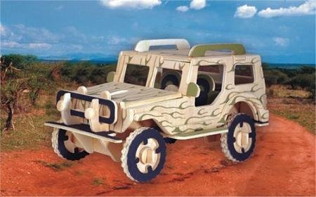 Puzzled Jeep 3D Jigsaw Woodcraft Kit Wooden Puzzle - 1