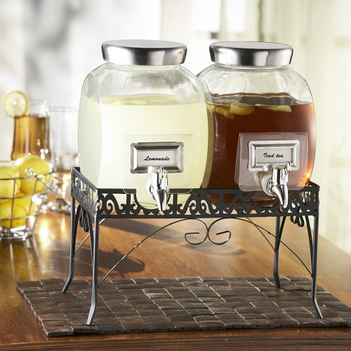 Mason Jar Dual Drink Dispensers With Stand Mason Jar