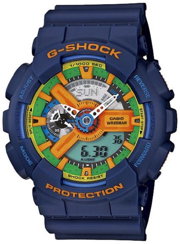 Casio Men's GA110FC-2A Blue Resin Quartz Watch with Green Dial