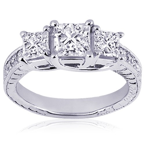 1 Ct 3 Stone Princess Cut Diamond Engagement Ring VS2