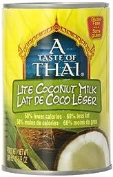 Taste of  Thai Lite Coconut Milk, 13.5000-Ounce (Pack of 12)