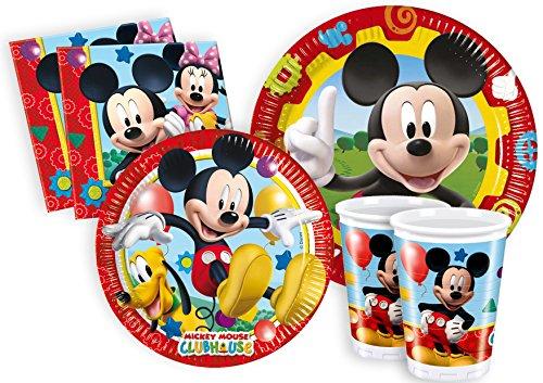 Ciao Y2496 - Kit Party Festa in Tavola Mickey Mouse Club House per 8 Persone (44 Pezzi: 8 Piatti Grandi, 8 Piatti Medi, 8 Bicchieri, 20 Tovaglioli)
