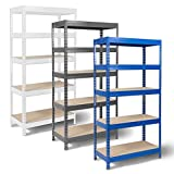 Mammut by Office Marshal - Heavy-Duty Steel Shelving - 9 Sizes/4 Colours Available - 875 kg. Capacity - White, 90x180x45cm