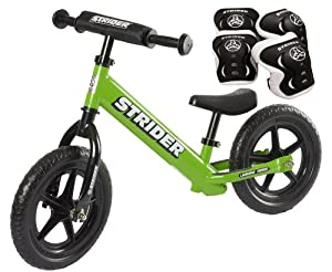 *Strider ST-4 Balance Bike with Elbow Pads & Knee Pads* (Green)