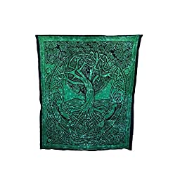 Courtney Davis Green Tree of Life Tapestry/bedspread 52\