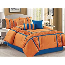 Empire Home Samantha 7 Piece Ruffled Comforter set - Yellow / Blue (Queen Size) (Full Size, Orange / Blue)