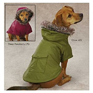Casual Canine Polyester Fur Trim Dog Parka, XX-Small, Raspberry