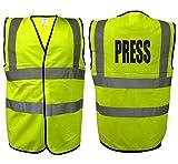 Bouton Gilet à haute visibilité et haute visibilité Media cas photographe visibilité EN471 0346 -  Jaune - Large...