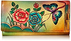 Anuschka Handpainted Leather 1701-ANR Checkbook Wallet/Clutch, Antique Rose, One Size