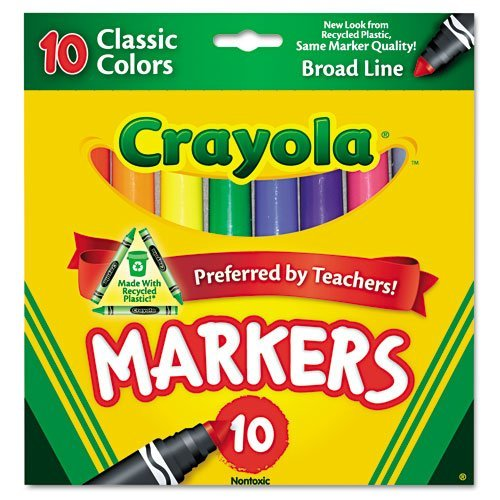 Crayola Products - Crayola - Non-Washable Markers, Fine Point, Classic Colors, 10/Set - Sold As 1 Set - An arts and crafts essential. - Classic, long-lasting, durable markers lay down lots of brilliant color, yet don't bleed through. - Water-soluble and water-based ink. - 1