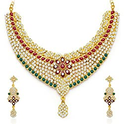 Sukkhi Graceful Gold Plated Meenakari AD Necklace Set for Women