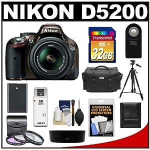 Nikon D5200 Digital SLR Camera & 18-55mm G VR DX AF-S Zoom Lens (Bronze) with 32GB Card + Battery + Case + 3 UV/FLD/CPL Filters + Tripod + Accessory Kit