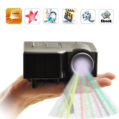 Vigrand Projector 32 Ansil Lumens Multimedia LED LCD Portable White Projector with Music Photos Videos Compatible with Smart Phone for Iphone 4/4s,ipad,samsung Galaxy I9300,n7000,i9100 Black