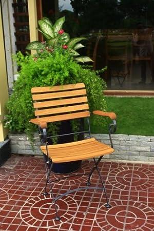 Klapparmstuhl Gartenstuhl 2er Set Stahl Eukalyptus FSC-Holz