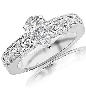 0.88 Carat Pear Cut / Shape 14K White Gold Antique / Vintage Bezel Set Designer Diamond Engagement Ring ( D-E Color , VS2 Clarity )