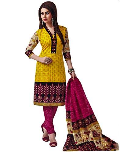 Jevi Prints Gold Printed Unstitched Punjabi Suit Dupatta