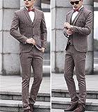 ビジネススーツメンズスリーピーススリムスーツメンズスーツ二つボタンジャケットスーツベスト付きチェック柄成人式/紳士服/入社式/卒業式/就活/就職/結婚式スーツオールシーズンスタイリッシュスーツST-013(50/XL,チェックコーヒー色)