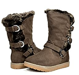 Dream Pairs KOREL Girls Winter Buckles Zipper Closure Fully Fur Lining Kids Snow Boots Brown Size 10