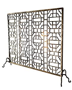 Geometric Single Panel Flat Fireplace Screen Home Kitchen