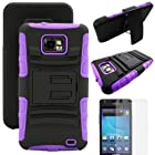 MINITURTLE, Rugged Hybrid Dual Layer Armor Phone Case Cover with Built in Kickstand, Swiveling Holster Belt Clip, and Clear Screen Protector Film for Android Smartphone Samsung Galaxy S2 II Attain SGH-I777 AT&T / Prepaid Straight Talk SGH-S959G (Black / Purple)
