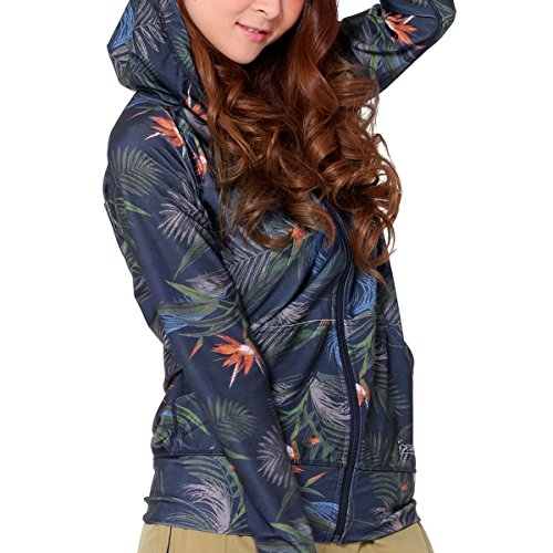 WL IR-9250 BTB-NVY size ICEPARDAL (aispadal) women's rash guard hoodies long sleeve UV cut UPF50 finger holes with a stylish and cute botanical swimsuit