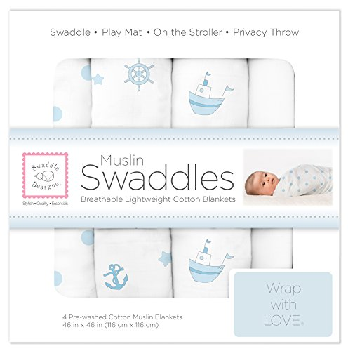 SwaddleDesigns Set of 4 Muslin Swaddle Blankets, Ships Ahoy!