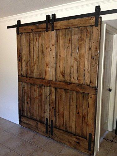 WinSoon 6FT Black Sliding Roller Barn Double Wood Door Hardware Closet Track Kit Set (18 Inch Interior Door compare prices)