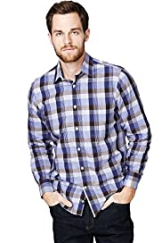 Blue Harbour Pure Cotton Grid Checked Shirt