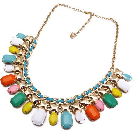 multicolour Chunky Bread Bubble Statement Bib Necklace Resin Stone Golden Jewelry(wp-44)