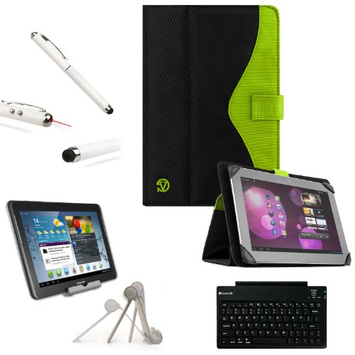 Soho Padfolio Smart Stand Alone Cover Case Durable Premium Design For Lenovo Ideatab S2109, S2110, S6000, A2109 / Miix 10 / Thinkpad 2 10-Inch Tablet Computer + Slim Travel Wireless Bluetooth Keyboard + High Quality 2 Way Pocket Tablet Stand + Professor P