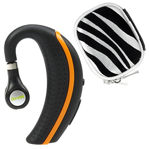 Ikross Black/ Orange Behind-The-Ear Wireless Bluetooth Handsfree Headset + Zebra Small Eva Headset Case For Nokia Lumia 1320, 610, 635, 1520, 2520, 1020 And More