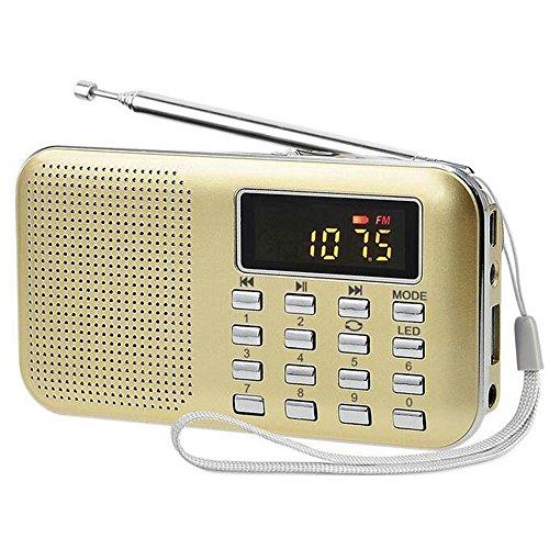 iMinker Mini portatile digitale AM   / FM dell'altoparlante di mezzi di musica MP3 Player di sostegno TF / porta USB con schermo di visualizzazione del LED, torcia elettrica di emergenza, 3.5mm Jack (Oro)