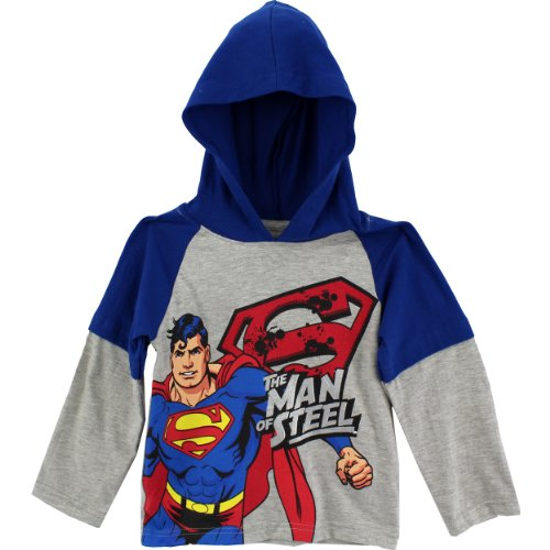 "DC Comics Boys Superman ""Man Of Steel"" Hooded Layered Long Sleeve T-Shirt"