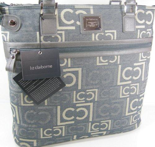 liz-claiborne-logo-tote-pack-xl-purse-laptop-computer-bag-gray-purse-200