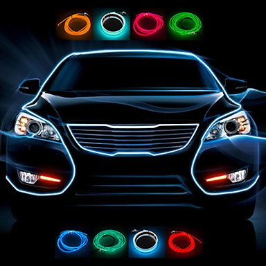 1 mètre Flexible voiture décoratifs Neon Light 2.3mm EL Wire Rope avec inverseur de voiture de lumière , Yellow