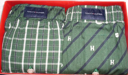 Tommy Hilfiger Classic Boxer Shorts, 2 Pack, Size Medium, W32-34, Bias Pig Print/Plaid - Green