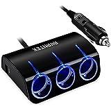 AVANTEK Zigarettenanzünder Verteiler, 3-Fach Steckdose Auto Ladegerät mit 2 USB Adapter für Handy, Blau LED, DC 12 / 24 V, R41 [Aufgerüstet]