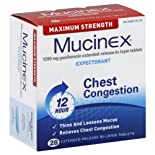 Mucinex Expectorant, Chest Congestion, Maximum Strength, 1200 mg, Extended-Release Bi-Layer Tablets, 28 ct.