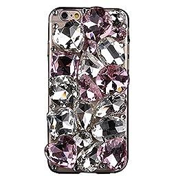 iPhone 6 Plus Case, STENES Luxurious Crystal 3D Handmade Sparkle Diamond Rhinestone Clear Cover with Retro Bowknot Anti Dust Plug - Big Rhinestone / Pink&White