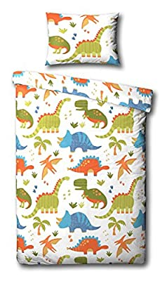 Children's Dinosaur Junior/Toddler Duvet Cover Bed Set Inc. Pillowcase (White, Orange, Green, Blue)
